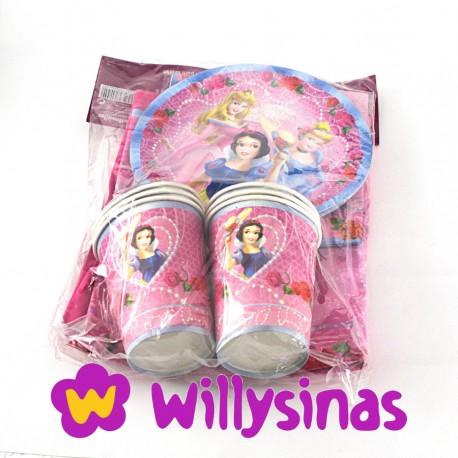 pack princesas disney de platos servilletas vasos y mantel