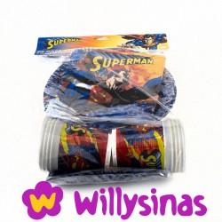 Superman en tu mesa, platos, vasos, servilletas y un mantel del Superheroe