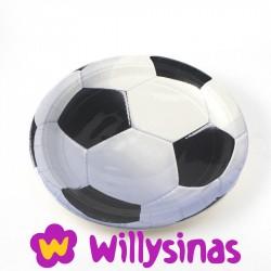 Platos grandes como balones en la fiesta tematica de Futbol