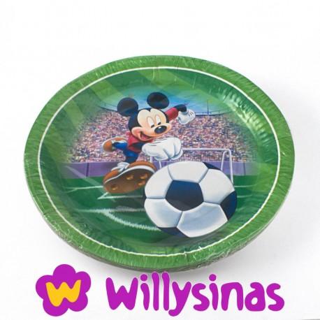 Plato grande de Mickey jugando al Fútbol